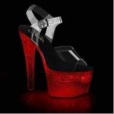Pleaser Flashdance-708Xtal Chargeable Ankle Strap Sandal