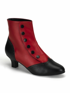 Pleaser Flora-1023 Two-Tone Button Snap Spat Ankle Boot