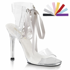 Pleaser Gala-32  Front Lace Up Sandal W/Colored Ribbons