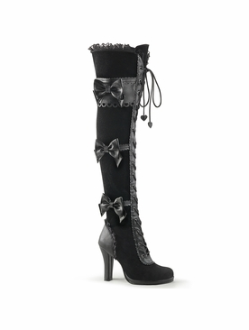 Pleaser Glam-300 Goth Lolita Lace-Up Front Over-the-Knee Boot
