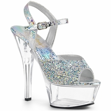 Pleaser Kiss-209RS Ankle Strap Sandal W/Rhinestones On Vamp