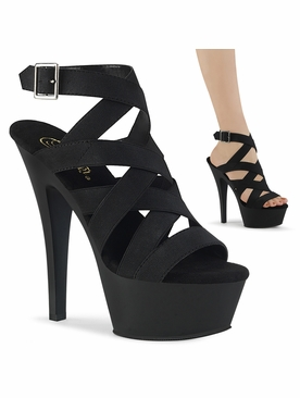 Pleaser Kiss-241 Criss Cross Wrap Around Ankle Strap Sandal