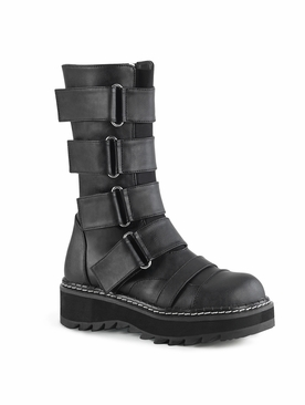 Demonia Lilith-211 Front Strap Mid-Calf Boot
