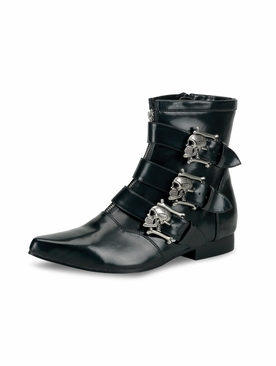 Pleaser Brogue-06 Men's Ankle Boot with Skull Buckles
