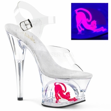 Pleaser Moon-708Cat Cut-Out Cat Platform Ankle Strap Sandal