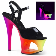 Pleaser Moon-709UV Ankle Strap Blacklight Reactive Sandal