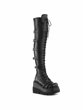 Pleaser Shaker-350 Wedge Platform Over-The Knee Boot