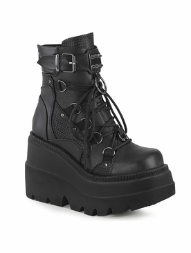 Demonia Shaker-60 Lace-Up Dual Buckle Ankle Boot