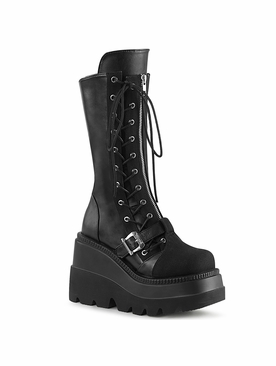 Pleaser Shaker-71Wedge Platform Mid-Calf Boot