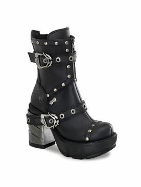 Demonia Sinister-201 Multi Strap Studded Ankle Boot