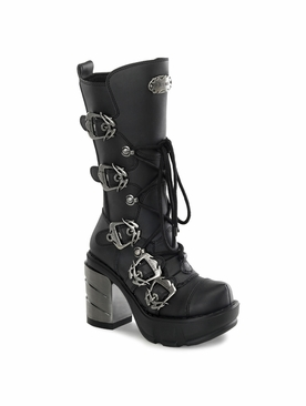 Pleaser Sinister-203 Multi Strap Studded Calf Boot