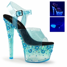 Pleaser Sky-308UVMG Blacklight Reactive Ankle Strap Sandal