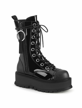 Pleaser Slacker-220 Lace-Up Front Mid-Calf Boot