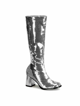 Pleaser Spectacul-300SQ Sequin Knee Boot