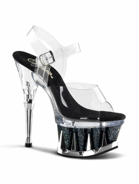 Pleaser Spiky-608MG Platform Ankle Strap Sandal
