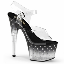 Pleaser Stardust-708T Platform Sandal With R/S Studded Bottoms