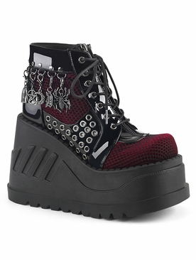 Demonia Stomp-18 Lace-Up Front Wedge Bootie