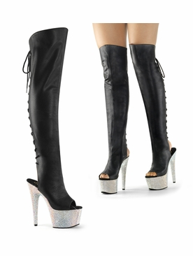 Pleaser Stripper Boots Bejeweled-3019DM-7 Thigh High Boot