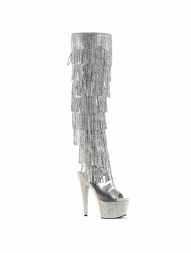 Pleaser Stripper Boots Bejeweled-3019RSF-7 Thigh High Boot