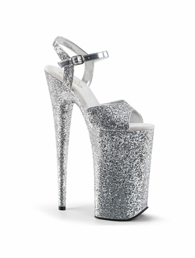 Pleaser Stripper Shoes Beyond-010LG Glitter Ankle Strap Stripper Heels