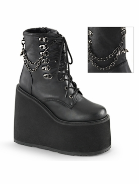 Pleaser Swing-101 Wedge Platform Lace Up Ankle Boot