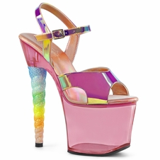 Pleaser Exotic Dancer Shoes Unicorn-711T Ankle Strap Tinted Sandal