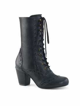 Pleaser Vivika-200 Round Toe Wingtip Mid-Calf Boot