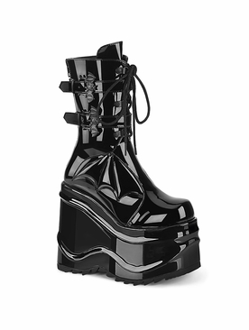 Demonia Wave-150 Wedge Platform Lace-Up Mid-Calf Boot