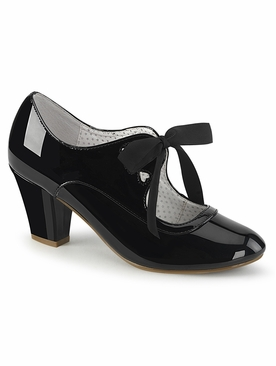 Pleaser Wiggle-32 Mary Jane Pump W/Ribbon Tie