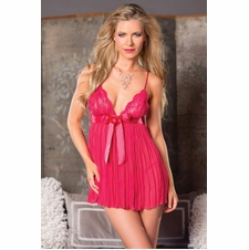 Pleated Babydoll With Satin Bow And Thong