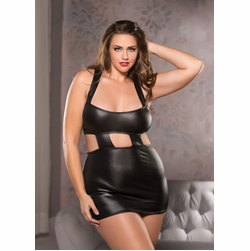 Plus Size Allure 13-1102X Wet-Look Classic Garter Skirt
