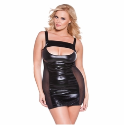 Plus Size Allure 17-6602XK Wet Look Cut Dress