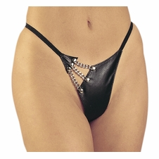 Plus Size Allure 2-303X Leather & Chain G-String