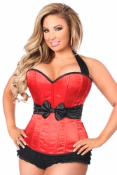 Plus Size Daisy LV-603 Red Halter Corset w/Bow