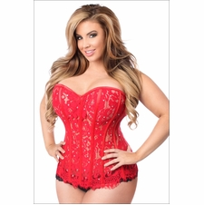 Plus Size Daisy TD-127 Red Lace Steel Boned Corset