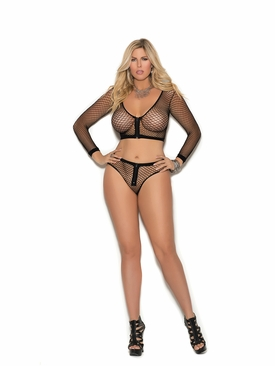 Plus Size Elegant Moments 1335Q Fence Net Cami Top W/Shorts