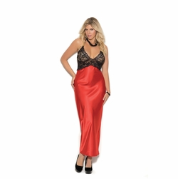 Plus Size Elegant Moments 1983X Halter Style Charmeuse Gown
