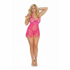 Plus Size Elegant Moments 4078X Lace and Mesh Babydoll