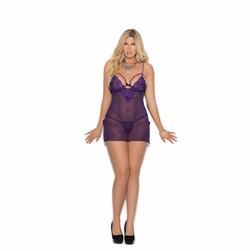 Plus Size Elegant Moments 4326X Mesh And Lace Babydoll