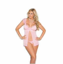 Plus Size Elegant Moments 4332X Mesh And Satin Babydoll