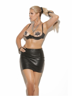 Plus Size Elegant Moments L5104X Leather Underwire Bra