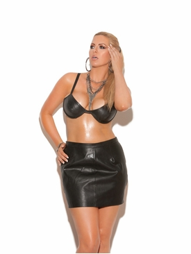 Plus Size Elegant Moments L5108X Leather Underwire Bra
