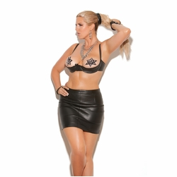 Plus Size Elegant Moments L6102X Leather Pencil Mini Skirt