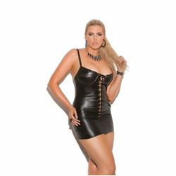 Plus Size Elegant Moments L8103X Lace Up Leather Dress
