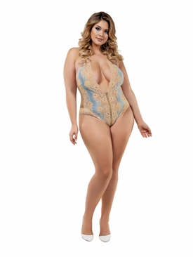 Plus Size Lacy Deep V Neck Venetian Teddy