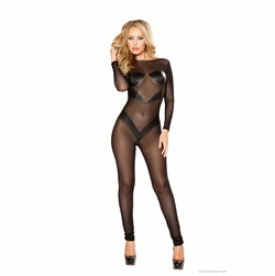 Plus Size Roma Li123X Mesh Catsuit with Patches