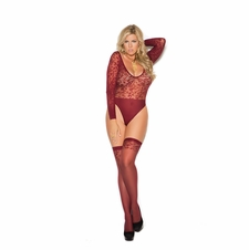 Plus Size Sheer Burnout Long Sleeve Teddy And Stockings