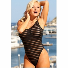 Plus Size Sheer Stripes Double Dip One Piece Swimsuit to Size 22