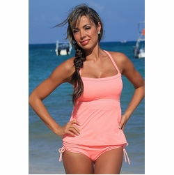 Plus Size Ujena Coral Full Figure Sexy Tankini Bathing Suit to Size 3X