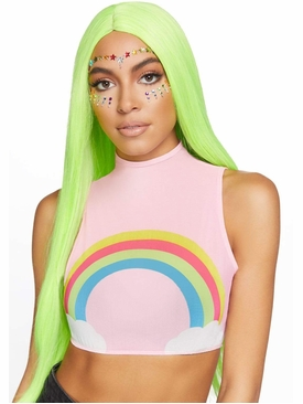Rainbow High Neck Mesh Crop Top